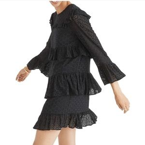 Madewell Black Eyelet Tiered Dress w/ Bell Sleeves